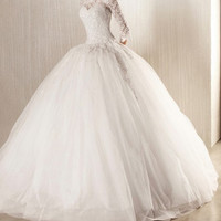 georges hobeika wedding dress/ off shoulder/ long sleeves/ lace wedding dress/ tulle ball gown/custom made