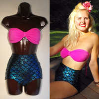 Mermaid Strapless Bathing Suit // Ariel Swimsuit Pink and Blue MADE TO ORDER