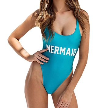 MERMAID Letter Print One Piece Swimsuit Women Swimwear Monokini Sexy Bodysuit Funny High Cut Jumpsuit Blue Bathing Suit badpak