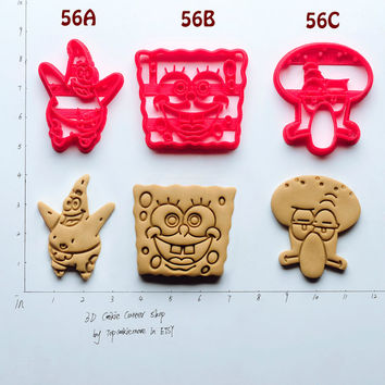 SpongeBob Cookie Cutter birthday favor party cake topper Fondant supplies gift cupcake fabric custom baby ideas design girl pin ear  56C