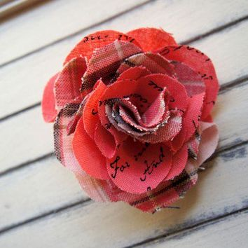 Poem Flower Brooch Bright coral pink and RedBlue by quotesandnotes