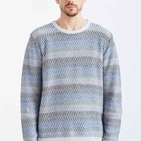 CPO Reverse Herringbone Stripe Crew Neck Sweater- Blue