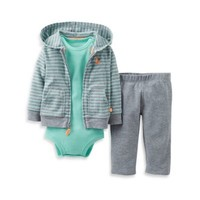 Carter's® 3-Piece Hooded Pant Set in Grey Fox