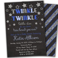 Boy Baby Shower Invitation Boy - Twinkle Twinkle Baby Shower Invitations - Star Blue Baby Shower - Glitter Baby Shower Invite - Silver Stars