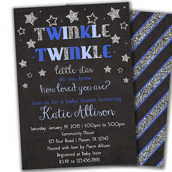 Boy Baby Shower Invitation Boy   Twinkle Twinkle Baby Shower Invitations    Star Blue Baby Shower