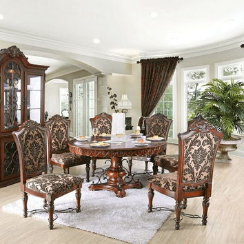 Furniture of america CM3788RT-7pc 7 pc Lucie collection cherry brown finish wood round pedestal ornate accents dining table set