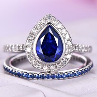 Pear Sapphire Engagement Ring Sets Full Eternity Sapphire Band 14K White Gold 6x8mm
