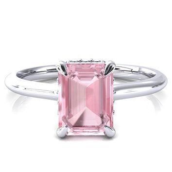 Janey Emerald Pink Sapphire 4 Prongs Claw Floating Halo Inverted Cathedral Ring