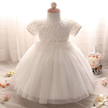 Toddler Girl White Wedding Dresses Lace Christening Gown Newborn Dress For 1 2 Years Baby Girl Birthday Party Infantil Vestido