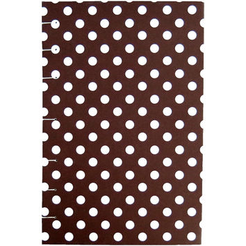 "Brown Polka Dot - Coptic Journal - A5 5x8 Graph / Quad - Bullet Journal - Planner - Coptic Bullet Journal 5"" x 8"" - 192 sheets 384 pages"