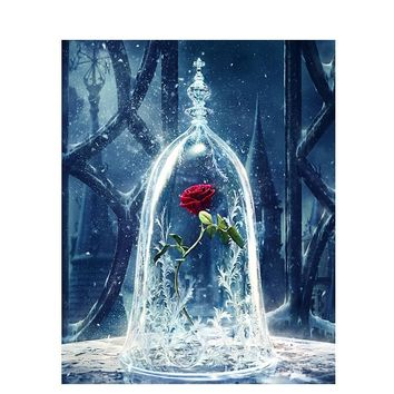 ArtSailing pictures by numbers on canvas Beauty and beast rose painting by numbers with acrylic paints Posters with frame NP-487