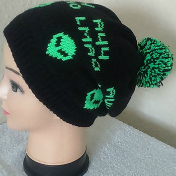 Ayy Lmao Alien Hat, Slouchy Hat, Black And Green With A Pom Pom.