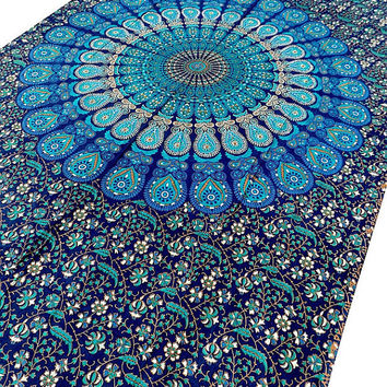 TWIN cotton indian mandala tapestry hippie wall hanging boho bohemian bedding throw bedspread bed cover ethnic home decor art