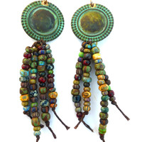 Green patina charm and Czech glass knotted earrings.