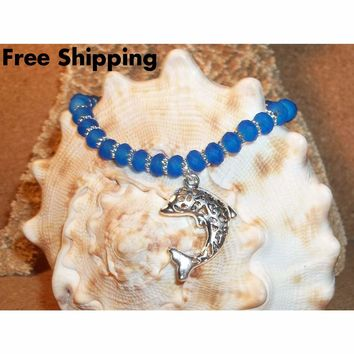 Filigree Dolphin & Blue Glass Beaded Hand Crafted Stretch Bracelet