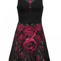 "WOMEN'S ""BLOOD ROSE AO"" MESH LAYERED MIDI SKATER DRESS BY SPIRAL USA (BLACK)"