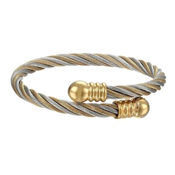 Stainless Steel and Cable Bangle Bracelet with Gold Ion Plating