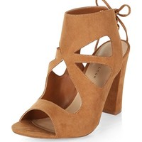 Tan Suedette Cut Out Tie Back Heeled Sandals