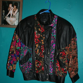 Vintage 80's Leather Jacket - Black Leather Bomber with Printed Patchwork/ 80s BOMBER jacket