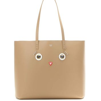 Embellished leather shopper