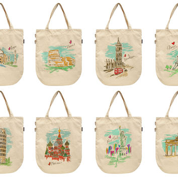 Women Colorful Sketch of Cities Printed Canvas Tote Shoulder Bags WAS_39