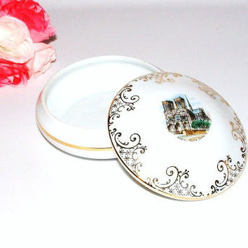 Vintage Trinket Box Porcelain Paris France Limoges Collectible Decoupage Ring Holder Dish