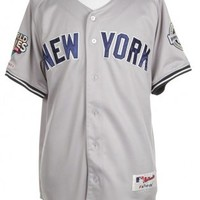 Grey & Navy NY Yankees Baseball Jersey - Vintage clothing from Rokit -