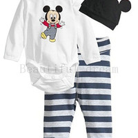 Baby Cotton Mickey Mouse Print O-Neck Bodysuit Striped Pants and Hat Set