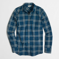 Factory petite classic button-down shirt in plaid