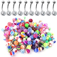 BodyJ4You 60PC Belly Button Ring Set 14G  CZ Steel Acrylic Bioflex Banana Bar Body Piercing Jewelry