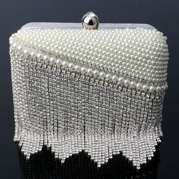Tassel Pearl Women Clutch Bags Rhinestones Beaded Evening Bags Gold/Silver Small Purse Chain Shoulder Bags