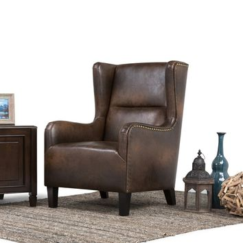 WYNDENHALL Manford Distressed Brown Bonded Leather Wingback Chair | Overstock.com Shopping - The Best Deals on Living Room Chairs