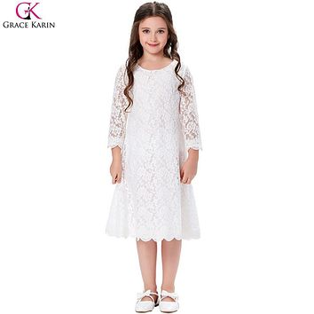 Grace Karin Flower Girl Dresses Lace Toddler Girl Party Dress Princess Gowns Fashion Summer Kids Clothes First Communion Dresses