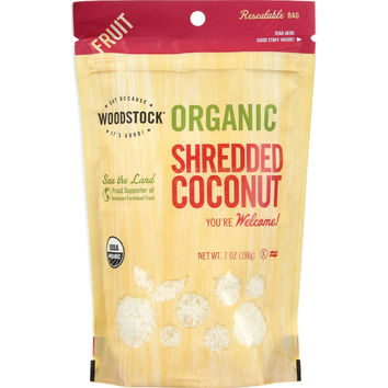 Woodstock Fruit - Organic - Coconut - Shredded - Raw - 7 oz - case of 8