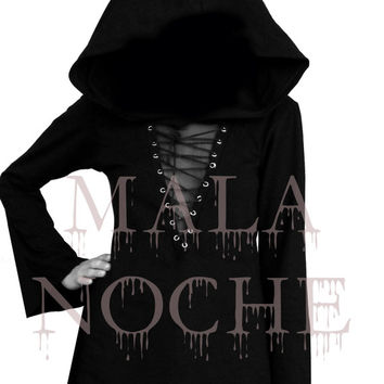 Black  dress, Oversize hood and sleeves, Goth dress, Dark dress, Witch dress
