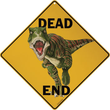 Dino Dead End Aluminum Sign