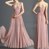 Blush Pink Dust Pink V neckline Straps Ruched bodices chiffon A-line bridesmaid dress/prom dress