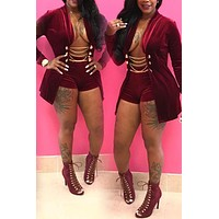 Velvet (RED) 2 Piece Sexy Short Set