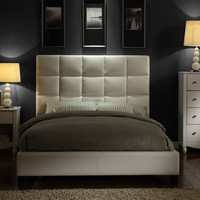 HomeHills 22885B522W(3A)[BED] White Paneled Faux Leather Queen Bed
