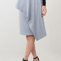Gray Asymmetrical Wool Pencil Skirt