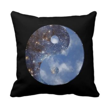 Yin Yang Night and Day Pillow
