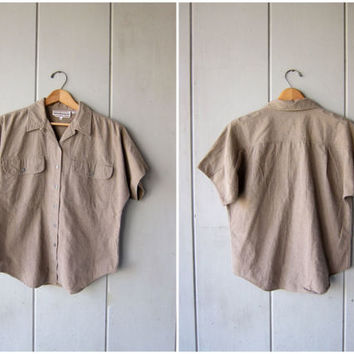 80s Striped Cotton Shirt Button Up Blouse Beige Taupe Minimal Button Up Shirt Dolman Short Sleeve Shirt Tee DES Vintage Womens Small Medium