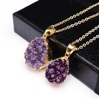 Druzy Quartz Natural Stone ~ Irregular Geode Amethyst ~ 18K Gold Plated Raw Stone Pendant  Gold purple
