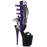 "Flamingo 800-38 Patent Black Purple Buckle Strap Boots  8"" High Heels"