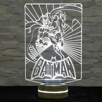 Batman Shape, Super Heroes, 3D LED Lamp, Kid's Room Decor, Amazing Effect, Nursery Light, Plexiglass Lamp, Decorative Lamp, Acrylic Lamp
