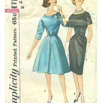 Retro Mad Men Style Simplicity Sewing Pattern 1960s Wiggle Secretary Style Swing Dress Gathered Bodice Uncut Bust 36