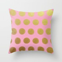 pinky gold; Throw Pillow by Pink Berry Patterns