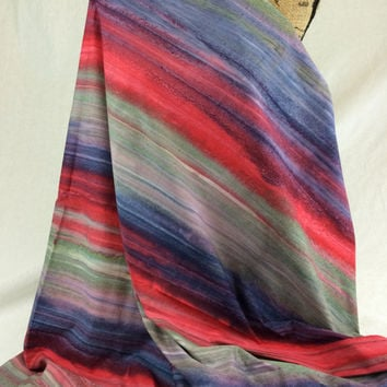 Hand Dyed Indonesian Batik Fabric--Made in Indonesian--Layered Heat--Red, Blue, Green Striped Tie Dye--Batik Fabric by the HALF YARD