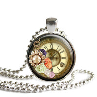 Flower and Clock Pendant Necklace, Gift For Sister, Mom, Daughter, Best Friend Christmas Gift