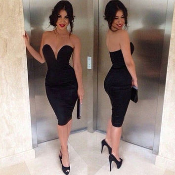 Classic Strapless Plunge Midi Dress,Party dress,sexy evening dress,cocktail dress,sexy black dress,sexy evening gown